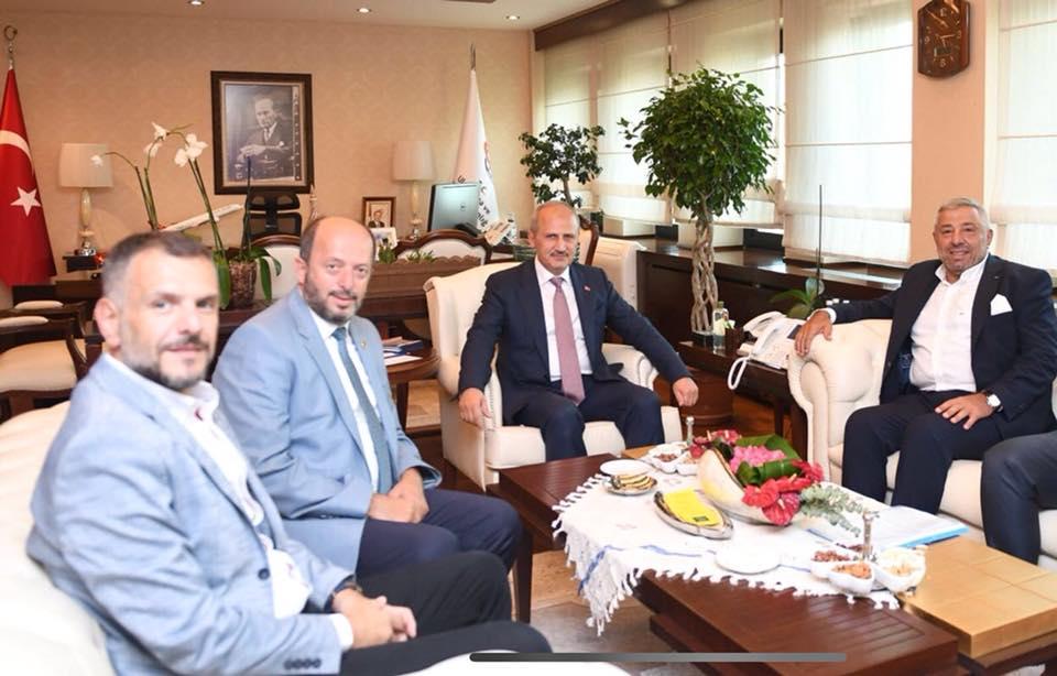 Ulaştırma ve Altyapı Bakanı Sayın Mehmet Cahit TURHAN'ı Makamında Ziyaret Ettik